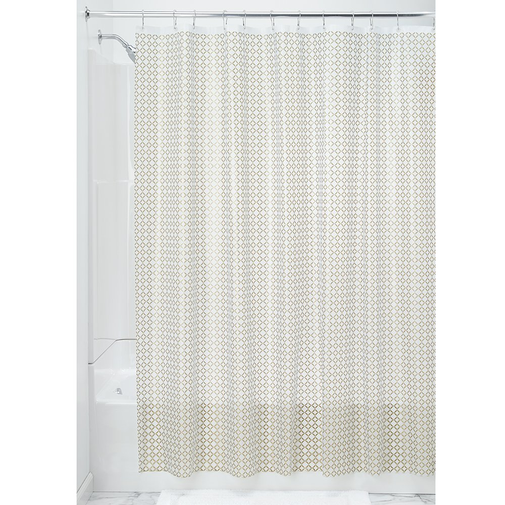 InterDesign Decorative PVC-Free PEVA 3-Gauge Shower Curtain Liner, 183 x 183 cm - Addie, Gold 35981