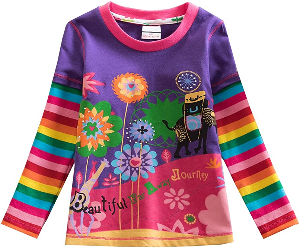 VIKITA Kid Girl Cotton Lace Long Sleeve T Shirt Clothes 2-6 Years