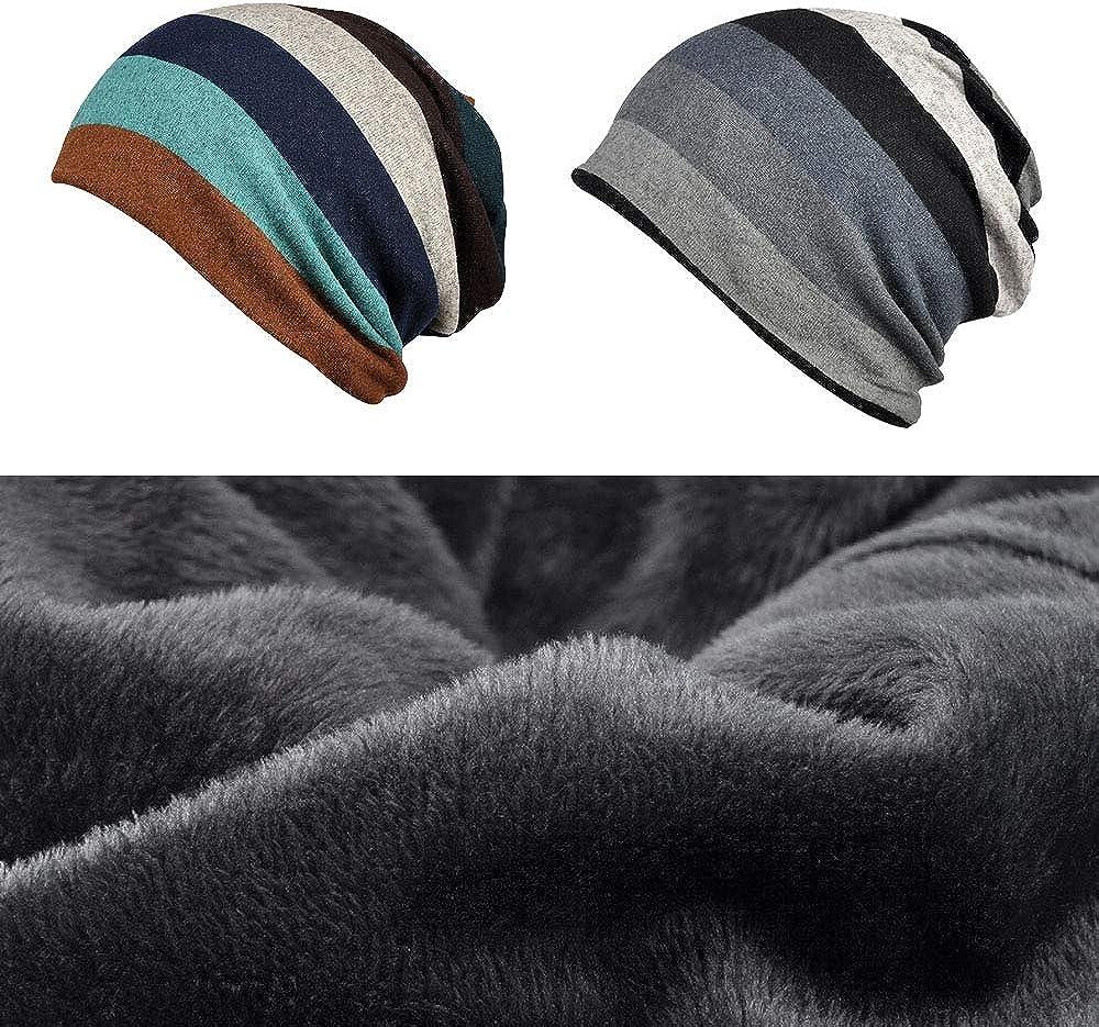 Kangqifen Mens Womens Striped Beanie Hat Cotton Plush Lining Outdoor Winter Warm Hat Scarf Dual Purpose