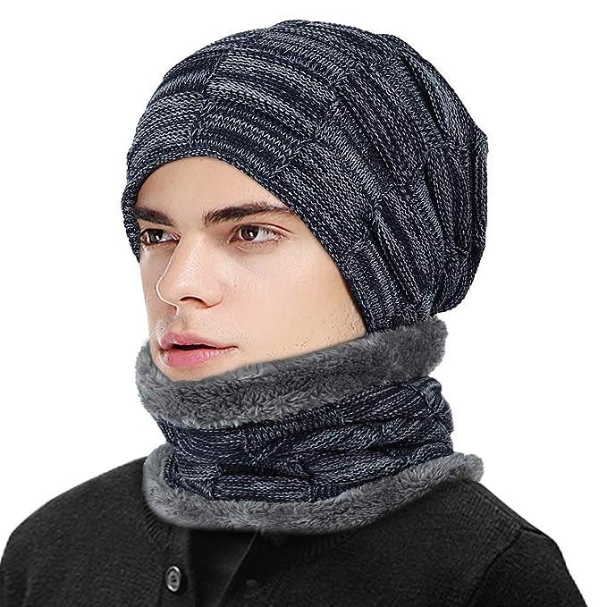 l'atteggiamento migliore 17b55 e0c0a HZQDLN Inverno Uomo Donna Cappello e Sciarpa Nuova Fodera Morbida, Tessuto  a Mano Stile Scozzese Abbigliamento Quotidiano Classico Addensare Sciarpa e  ...