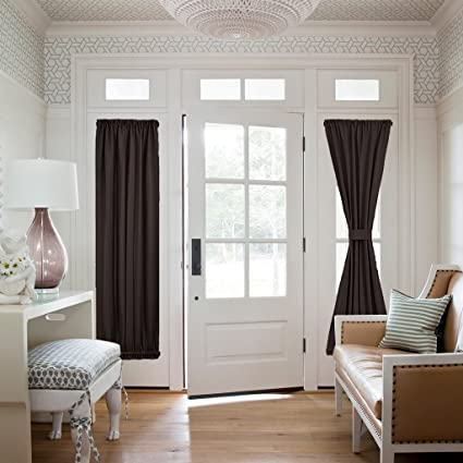 Image Unavailable & Amazon.com: NICETOWN Brown Blackout French Door Curtains - Energy ...