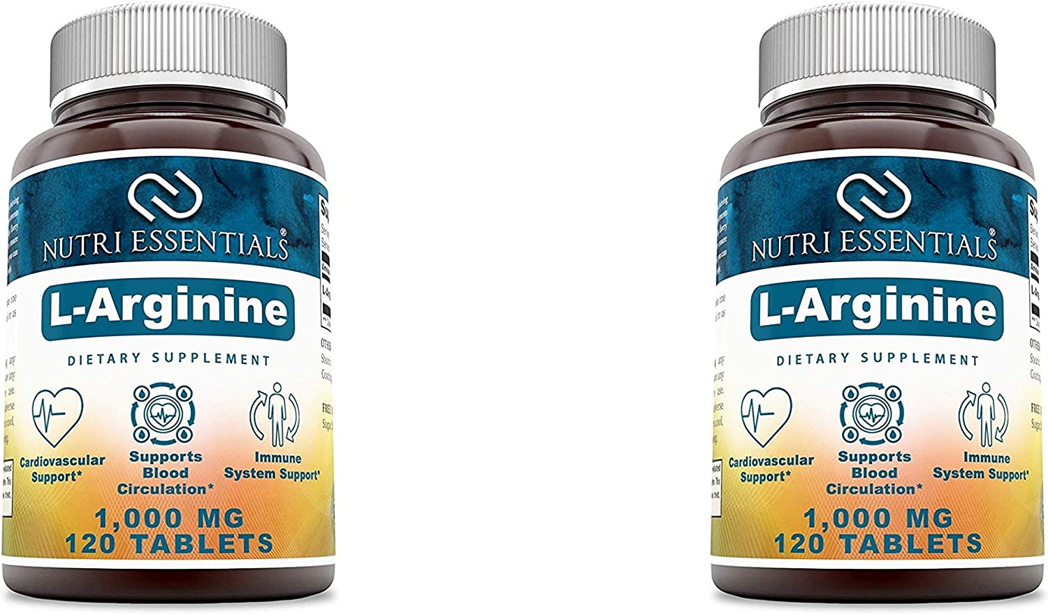 Nutri Essentials L-Arginine 1000 Mg 120 Tablets Dietary Supplement - Supports Cardiovascular Health - Supports Immune System Functions - Promotes Blood Circulation (Pack of 2)