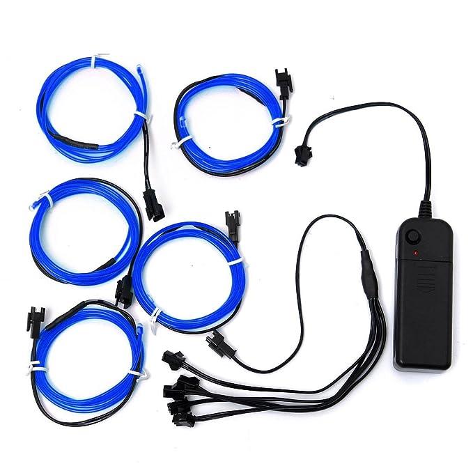 AUDEW 5x 1m Blau EL Wire EL Kabel Neon Beleuchtung leuchtschnur für ...