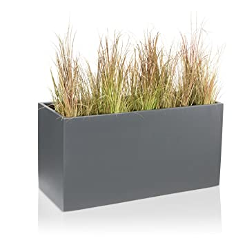maceta jardinera visio fibra de vidrio macetero color gris mate maceta grande resistente