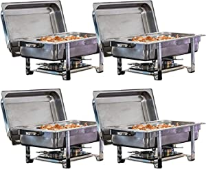 TigerChef Chafing Dish Buffet Set - Chaffing Dishes Stainless Steel - 4 Chafer and Buffet Warmer Sets with Water Pan, Food Pan, Lid