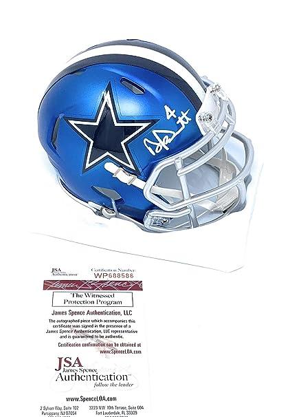 9f5885c2dfb Dak Prescott Dallas Cowboys Signed Autograph BLAZE Speed Mini Helmet Dak  Hologram JSA Witnessed Certified