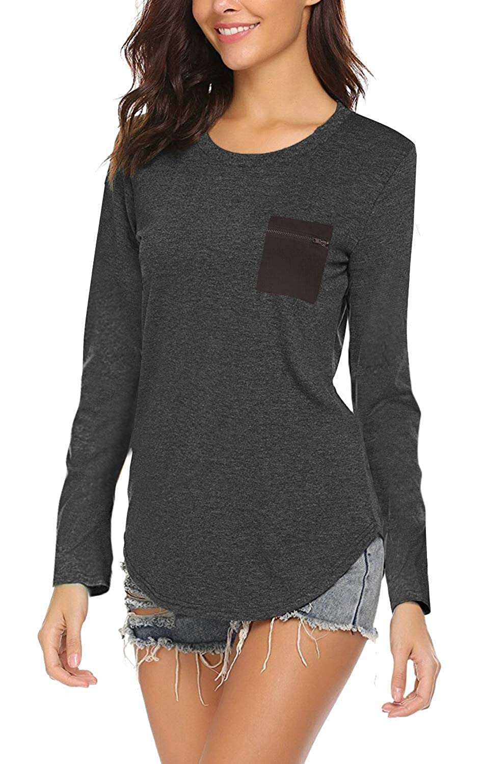 Dark Grey OURS Women's Casual Striped Long Sleeve Round Neck Floral T Shirts Blouse Tops