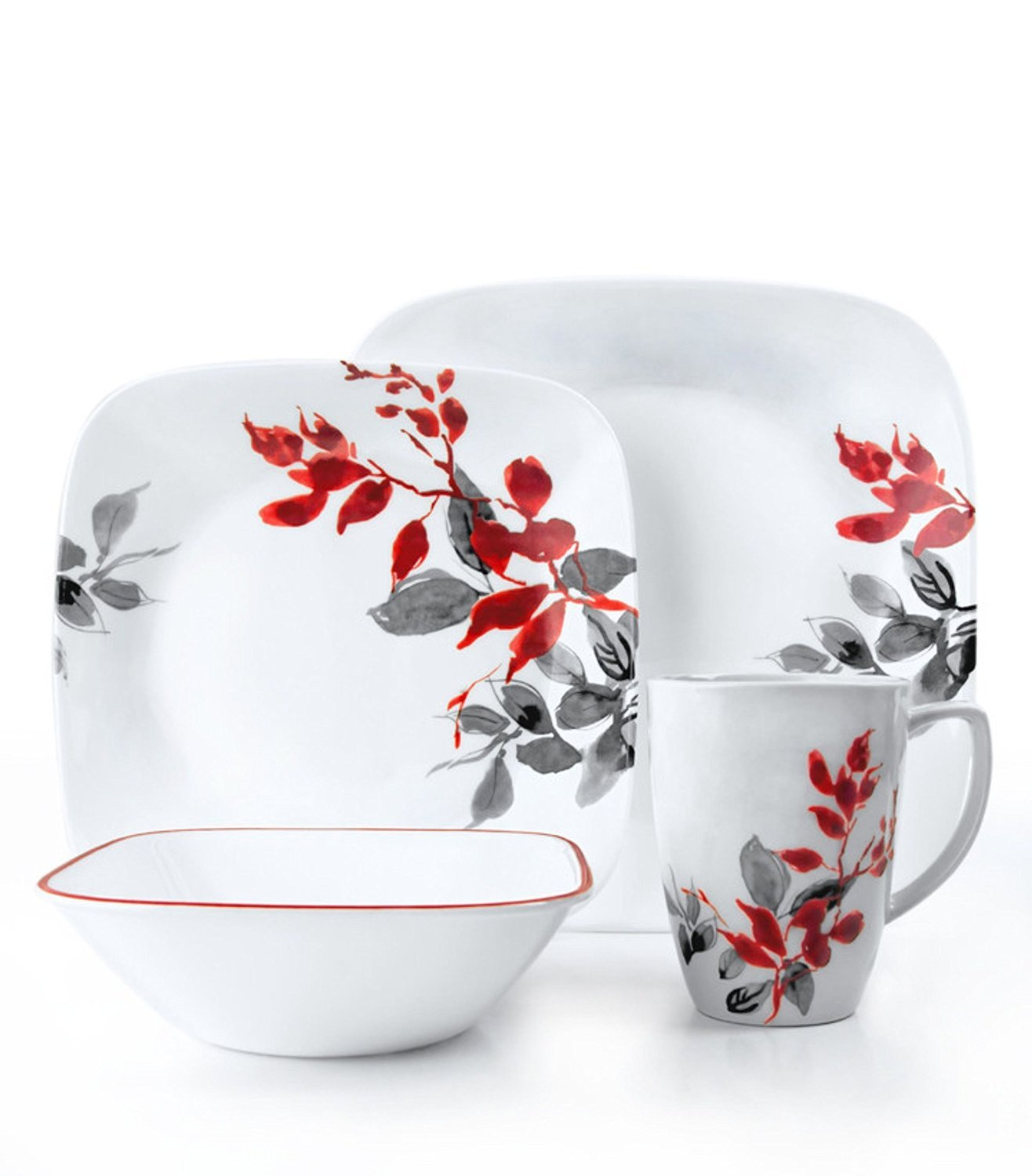 Corelle Square 32 Piece Dinnerware Set Kyoto Leaves  sc 1 st  Castrophotos : corelle 32 piece dinnerware set - pezcame.com