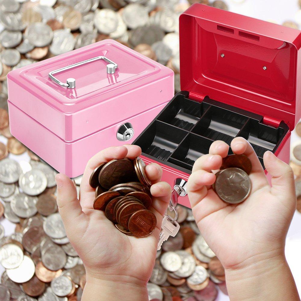 Rose Tirelire en m/étal avec Serrure Coin Cash Piggy Bank Bo/îte s/écuris/ée Parfaite avec 6 Compartiments Cadeau Parfait pour Les Enfants Adulte Ami OurLeeme Caisses /à Monnaie