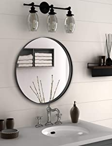 NXHOME Circle Metal-Frame Wall Mirror - Bathroom Decorative Wall Mounted Round Mirror 24 Inches Black Vanity Mirror for Living Room Entryway Bedroom
