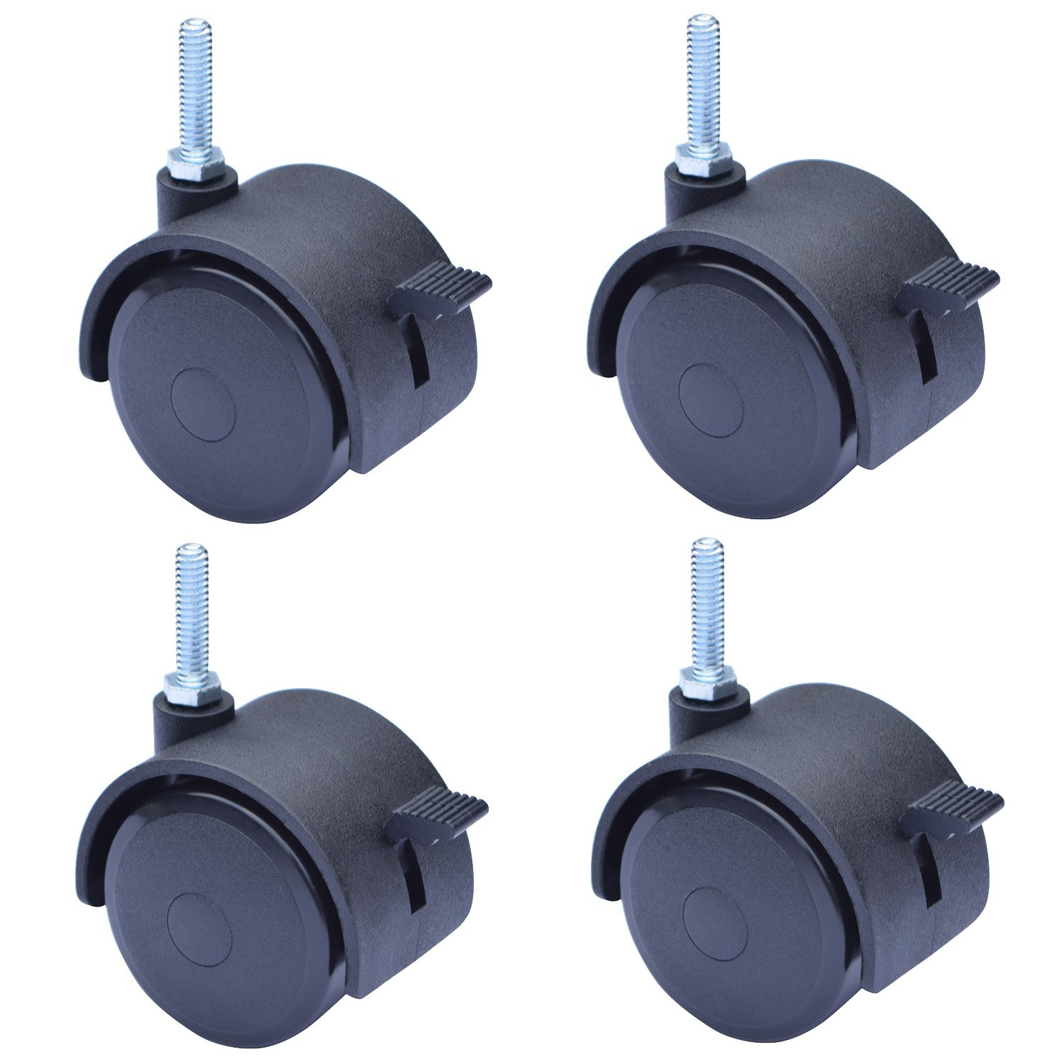 MySit 2 Caster Swivel Stem Caster Wheel with Locking Brake 1 4 20 x 1 Pack of 4 CasterBrake50 6x25