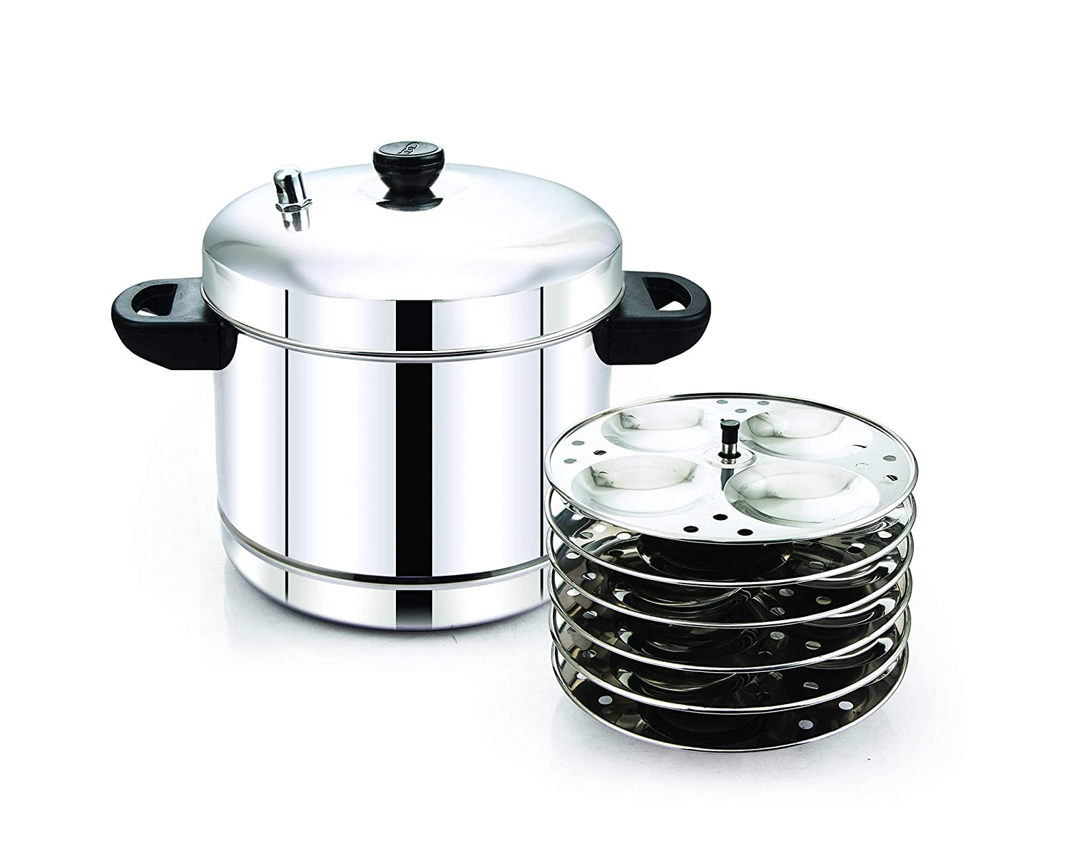 Tallboy Classic 6 Plates Idli Cooker Stainless Steel with Induction Base, (24 Idlis)