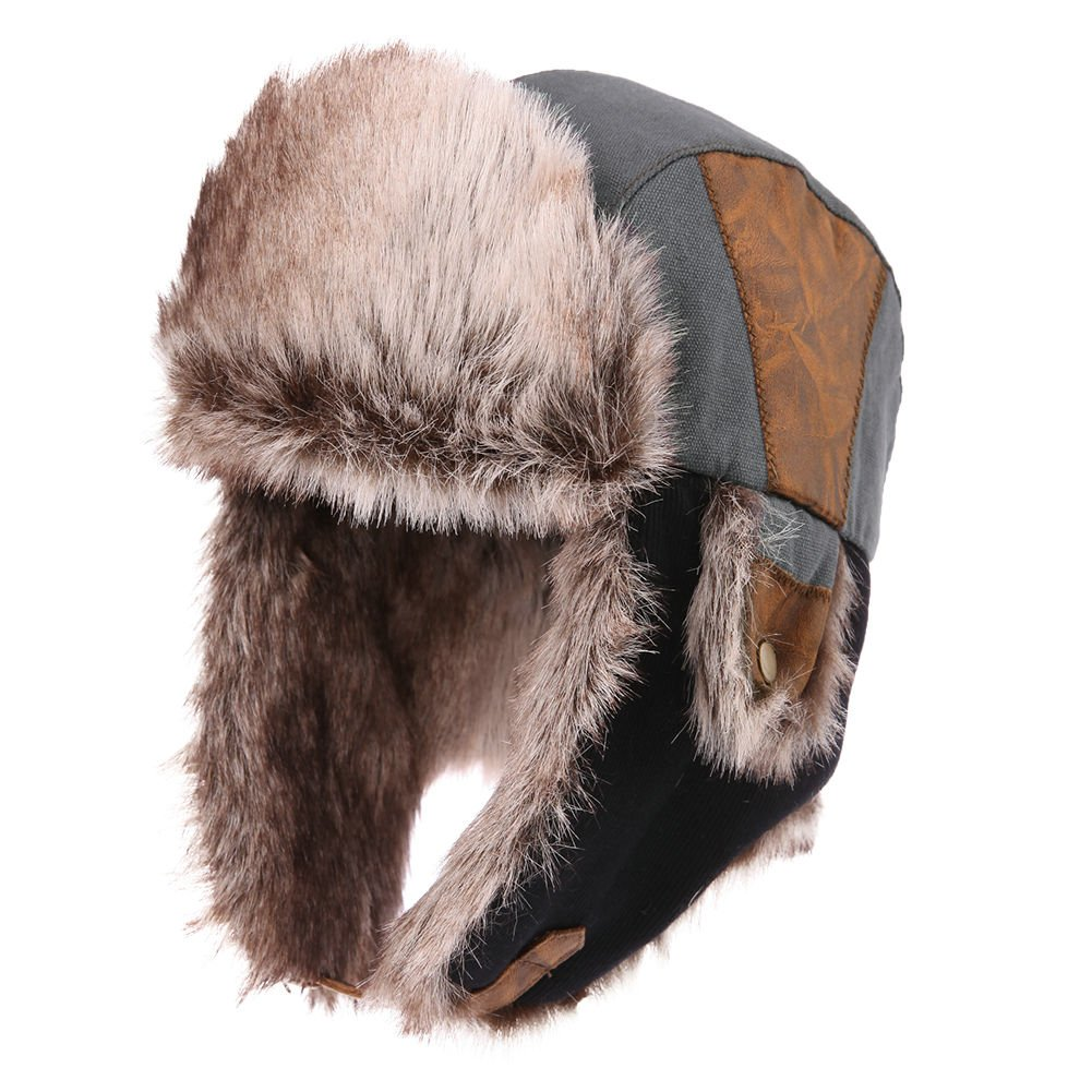 d4ace6e3521 Siggi Faux Fur Bomber Trapper Hat for Men Cotton Warm Ushanka Russian  Hunting Hat