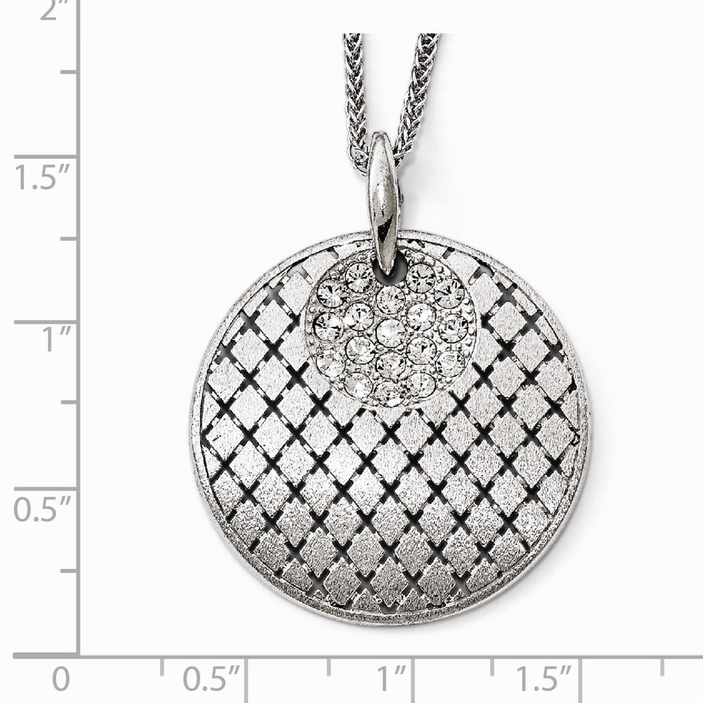 Sterling Silver Jewelry Pendants /& Charms Solid Leslies Brushed Preciosa Crystal Pendant