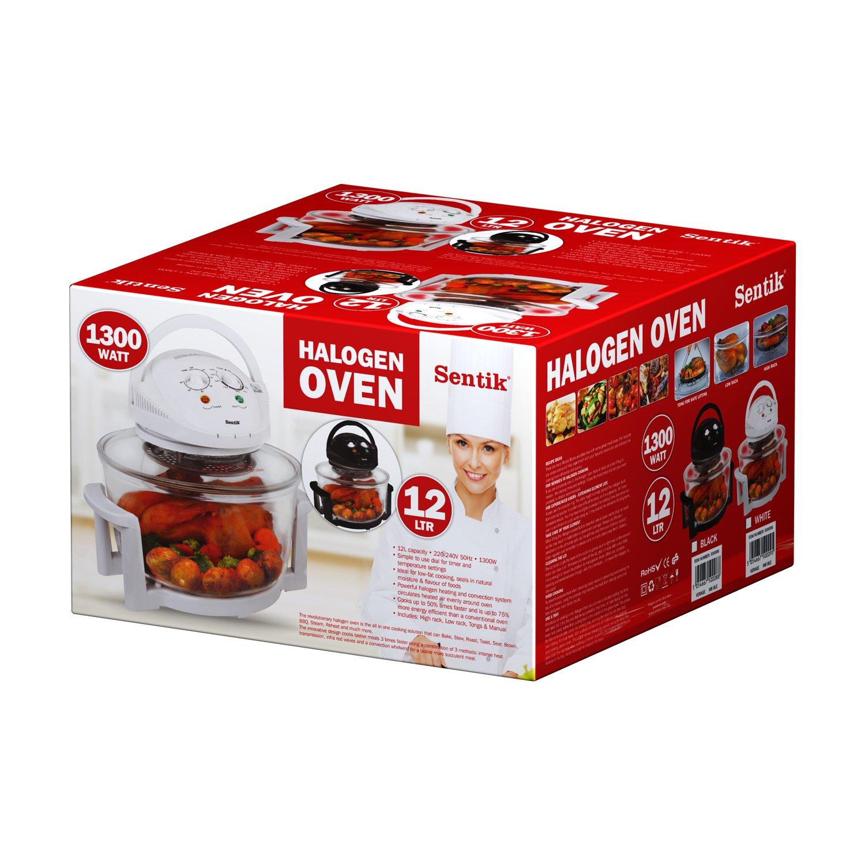 Sentik 12 Litre Premium 1300W White Halogen Oven Cooker + FREE High Rack, Low Rack & Tongs by Sentik: Amazon.es: Hogar