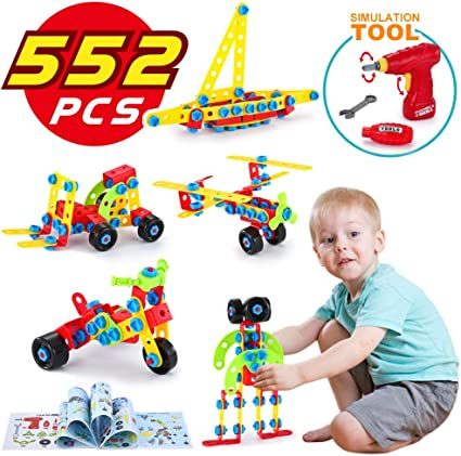Building Learning Toy 316 Pcs Creative Construction Toy Screw /& Block Toy Set...