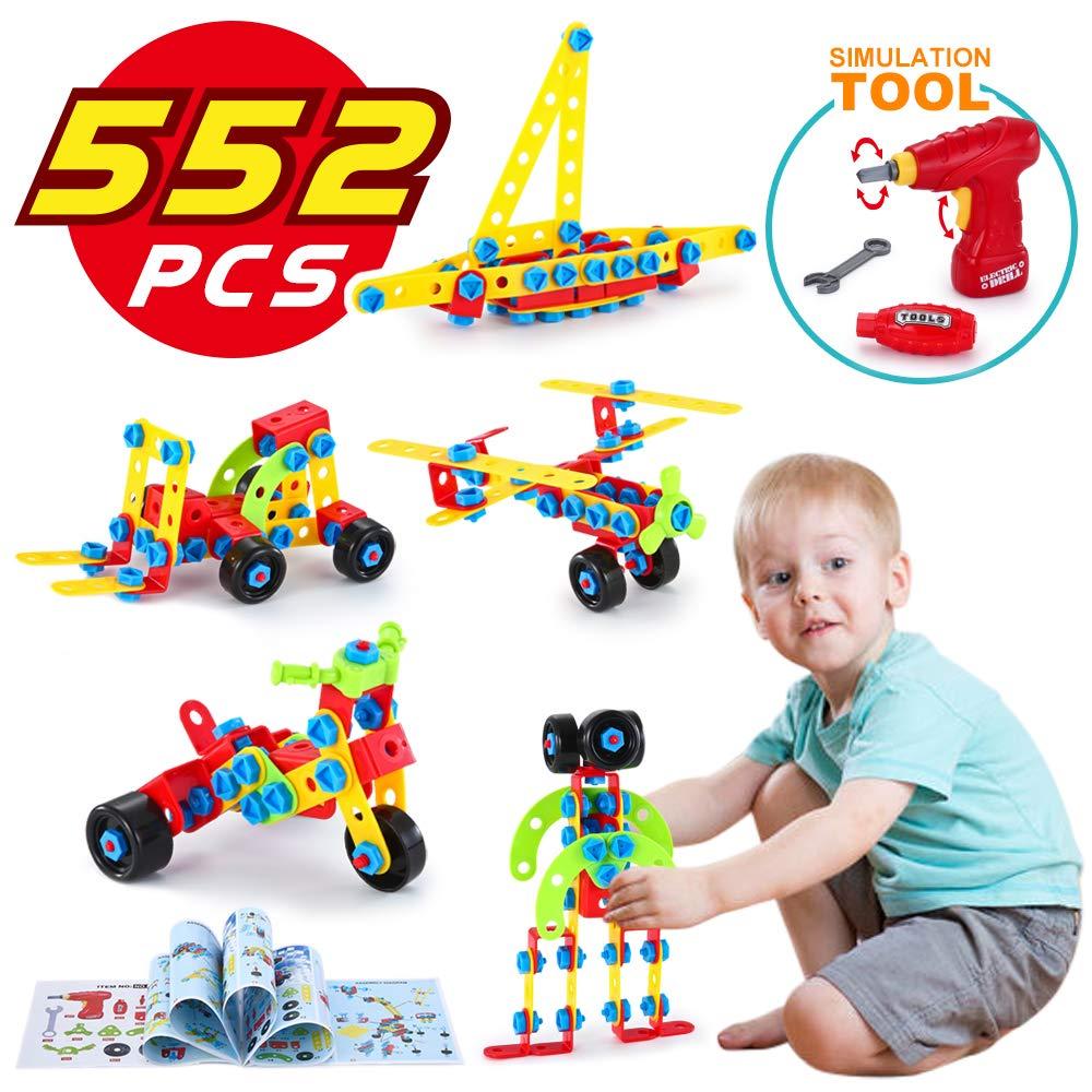 LUKAT Bausteine Spielzeug für 4 5 6 Jahre und älter Kinder, Gebäude Lernen Pädagogische Bausteine für 8, 9 Jahre Junge und Mädchen, 552 Stücke Geschenk 552 Stücke Geschenk 661-302