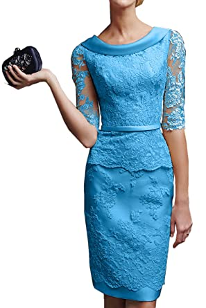 Gorgeous Bride Modisch Kurz Brautkleider Etui Lang Aermel Satin ...
