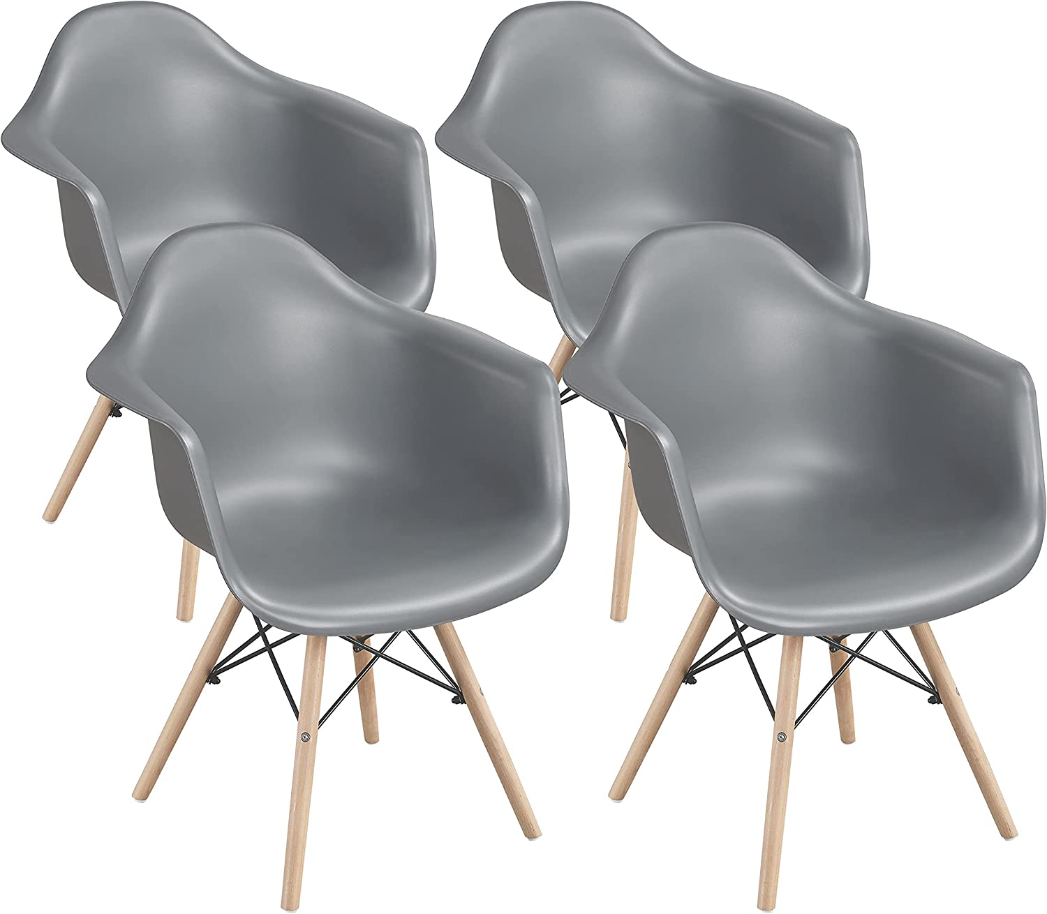 Yaheetech 4pcs Dining Chairs Mid Century Modern Chair with Armrests Backrest DSW Shell Eiffel Armchair with Wooden Legs for Home Kitchen and Restaurants, Gray