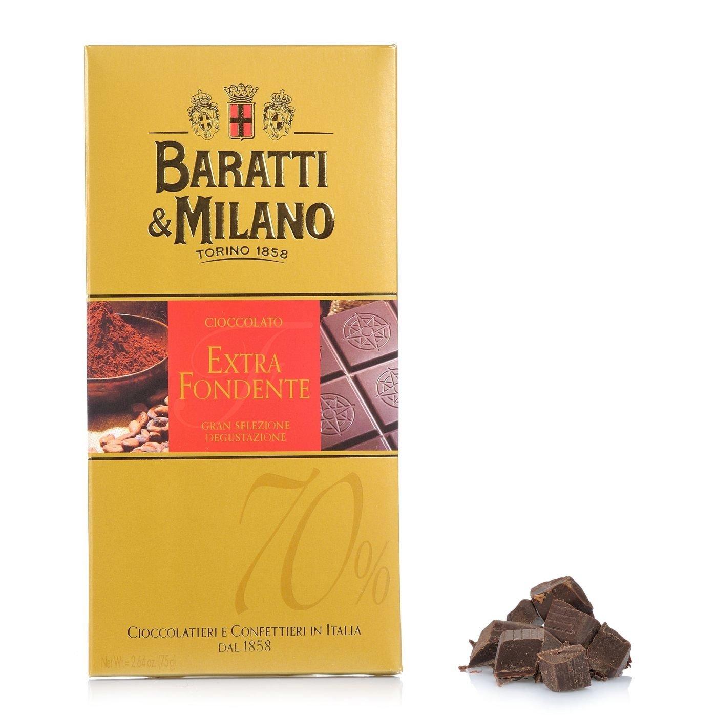 Baratti Milano Dark Chocolate Bar Extra 70 Cocoa 75gr