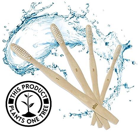 EBU® - Cepillos de dientes de bambú orgánico (4 unidades) – Cepillo de