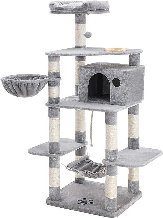 FEANDREA Árbol para Gatos de Varios Niveles, con Tazón de Comida, Postes Recubiertos de Sisal, Cesta Flotante, Caseta para Gatos, Mueble para Gatos, 164 cm, Gris Claro PCT99W: Amazon.es: Productos para mascotas
