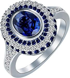 Nitlovely Wedding Rings Large Round Royal Blue Crystal White cz Finger Jewelry Unique Women Luxury Promise Rings (9)