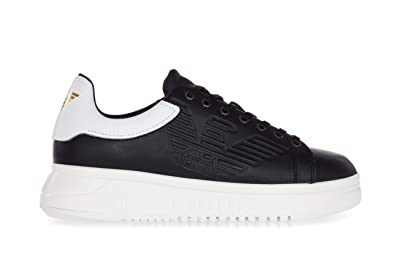 Emporio Armani Men s Shoes Leather Sneakers with High Rubber Outsole-43 Uomo  Black 7b54d17f204