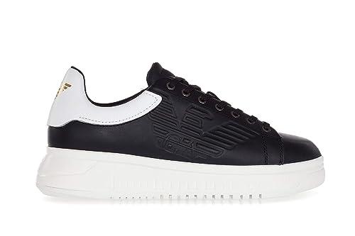 Emporio Armani Scarpe Uomo Leather Sneakers with High Rubber Outsole-43  Uomo Nero  Amazon.it  Scarpe e borse 88c7171c72d