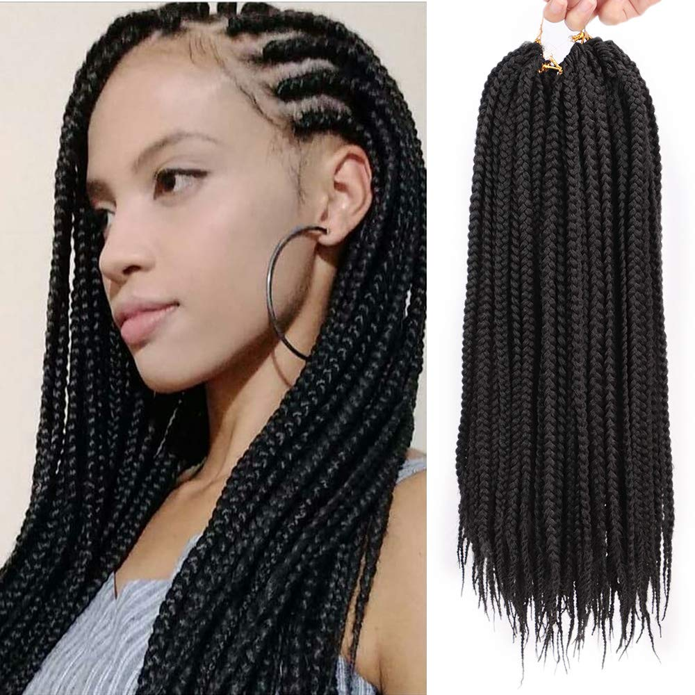Stamped Glorious 18 Inch Box Braids Crochet Hair Extensions Black Color  Dreadlocks Twist