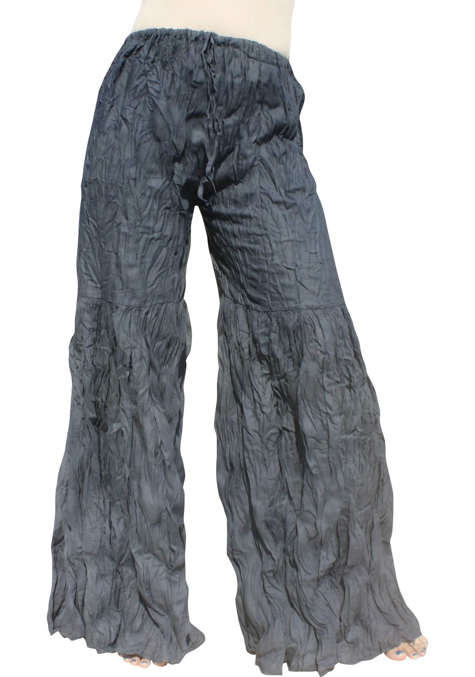 Raan Pah Muang Brand Wide Lower Leg Flared Light Cotton Stepped Pants Baggy Cut, X-Large, Payne's Gray by Raan Pah Muang