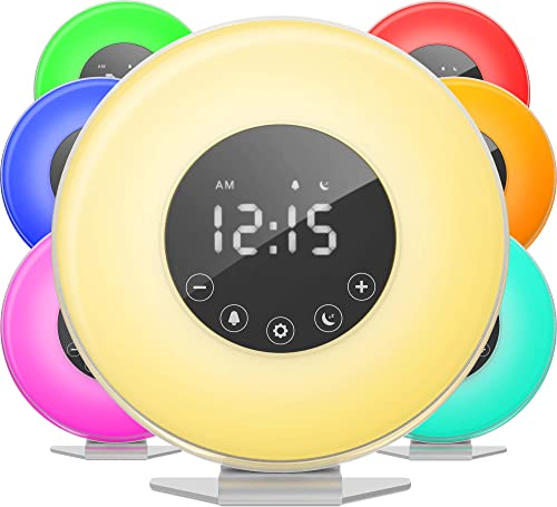 hOmeLabs Sunrise Alarm Clock – Digital LED Clock with 6 Color Switch and FM Radio for Bedrooms – Multiple Nature Sounds Sunset Simulation Touch Control – with Snooze Function for Heavy Sleepers