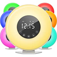 hOmeLabs Sunrise Alarm Clock - Digital LED Clock with 6 Color Switch and FM Radio for Bedrooms - Multiple Nature Sounds…