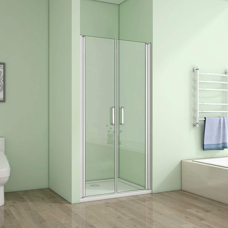Mampara de ducha con puerta doble, puerta de nicho: Amazon.es ...