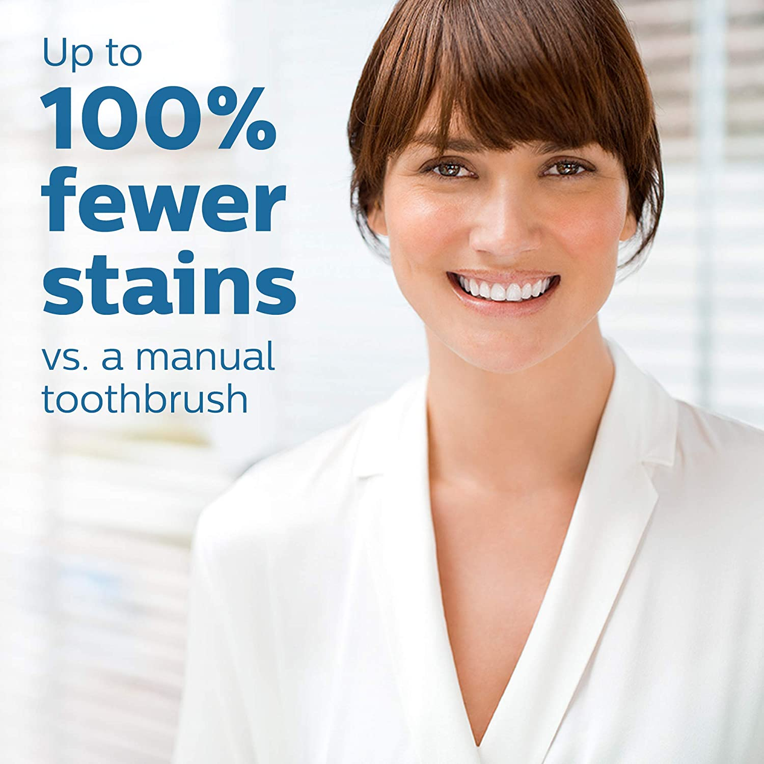 Fewer stains vs manual toothbrush