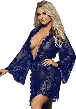ohyeahlady Mujer Bata Sexy Kimono Encaje Ropa de Dormir Transparente Talla Grande con Cinturón y Tanga M-7XL