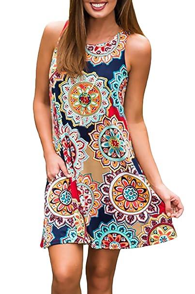 c2c43a8ea2dd Mujer Vestidos Verano Sin Mangas Cuello Redondo Estampado Una Línea ...