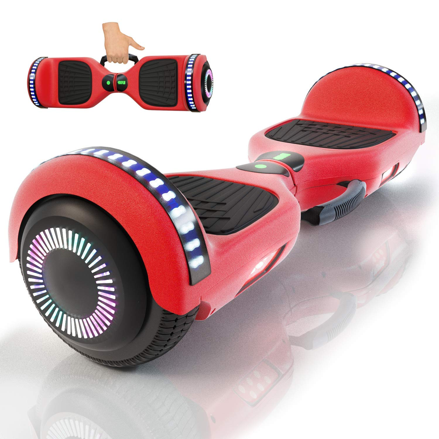 yayGear Hoverboard Self Balancing Scooter UL 2272 Certified with Powerful Bluetooth Speaker, Cool LED Lights and Easy Carrying Handle (Lava Red)