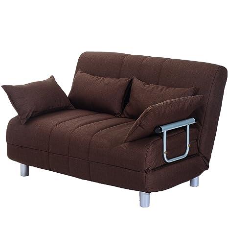 HOMCOM Sofa Cama Plegable 122x82x81cm Marron Cama 190x120x25cm