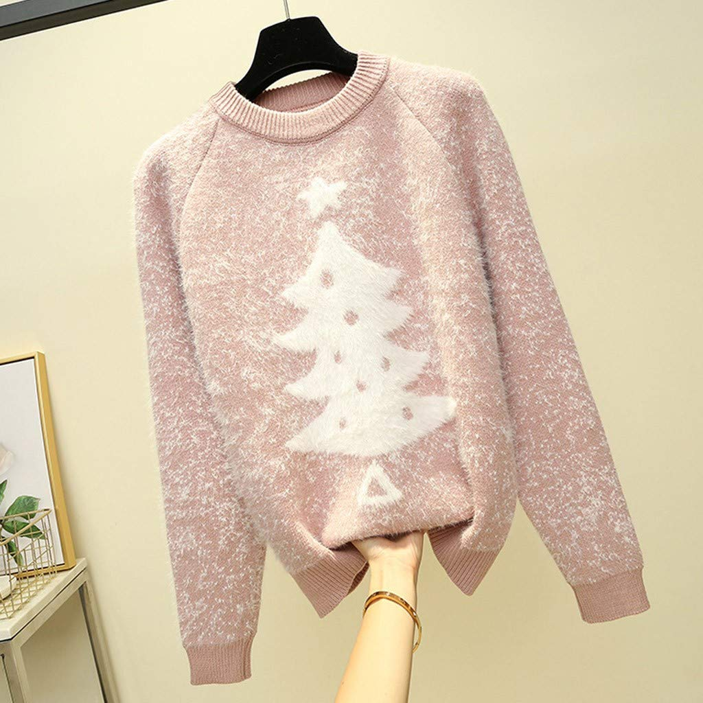 Oasisocean Womens Snowflakes Pullover Sweaters Knitted Ugly Christmas Sweater Pullover for Women Ladies Girls Teens