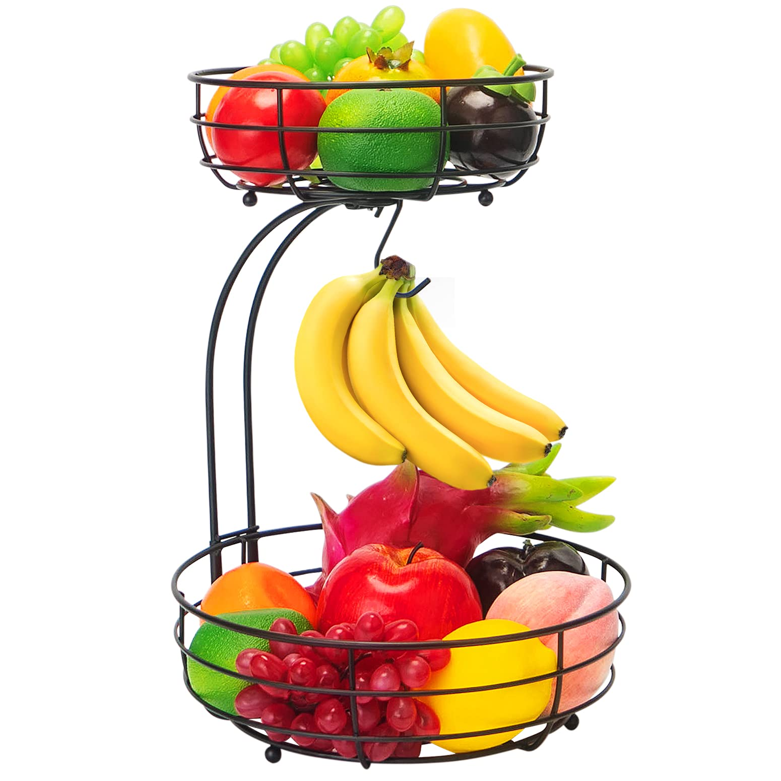 Bextsrack 2-Tier Countertop Fruit Basket Bowl with Banana Hanger for Kitchen Dining