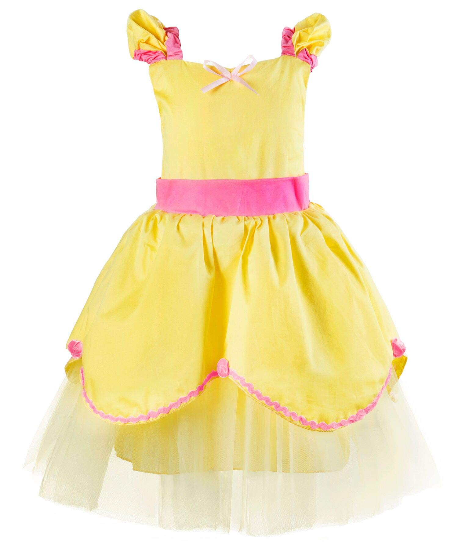 Okidokiyo Baby Girl Princess Sofia Belle Aurora Dress up Toddler Costume (18-24 Months, Belle)