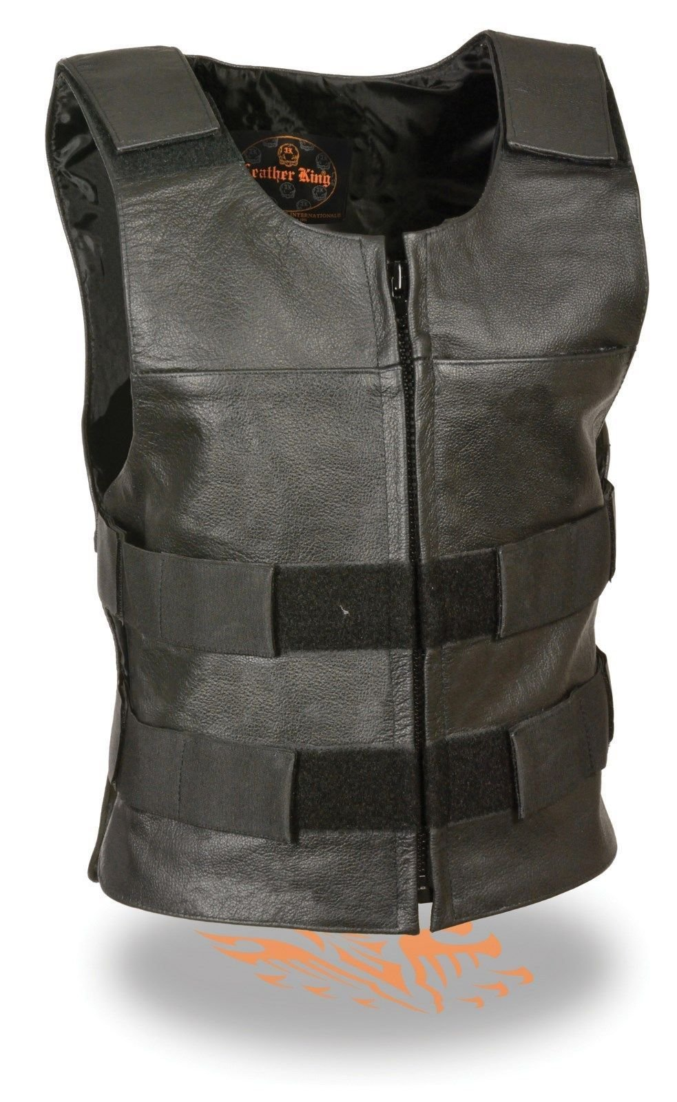 Women Motorcycle Black Bulletproof Replica Zipper Adjustable Size Leather Vest(XL)