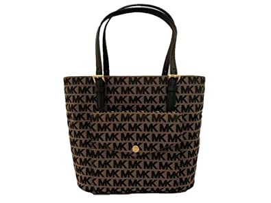 e02ddc44fa232f Image Unavailable. Image not available for. Color: Michael Kors Jet Set Item  Jacquard Medium Pocket Multifunction Logo Tote - Beige/Black/