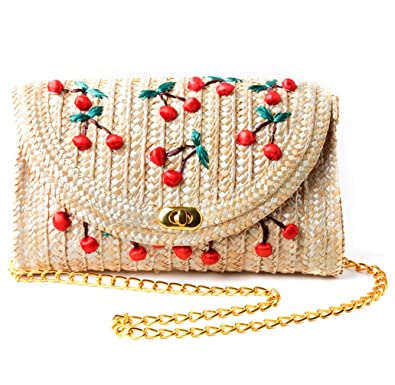 134a39545a TentHome Women Straw Weave Bag Banana Cherry Embroidery Shoulder Bag  Crossbody Tote Evening Clutch Bag with