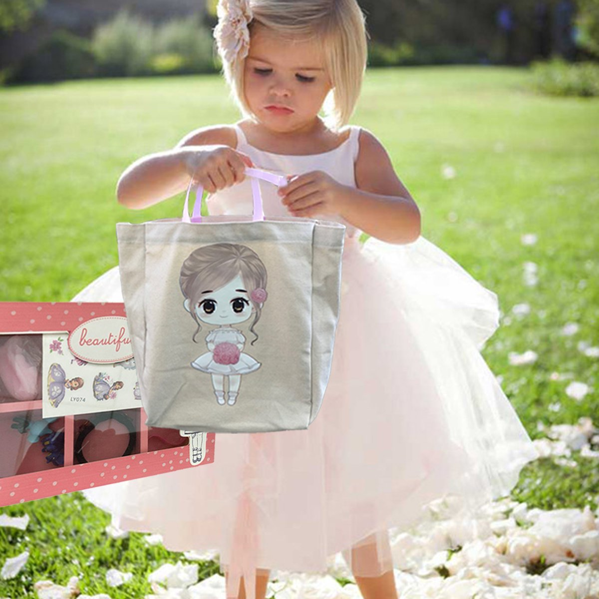 FLOWER Girl Wedding Birthday Christmas Favors Gift Tote Bag Cotton with Beautiful Wood Trinket Box full of toys favors girls jewelry headbands by Global Huntress (Image #3)