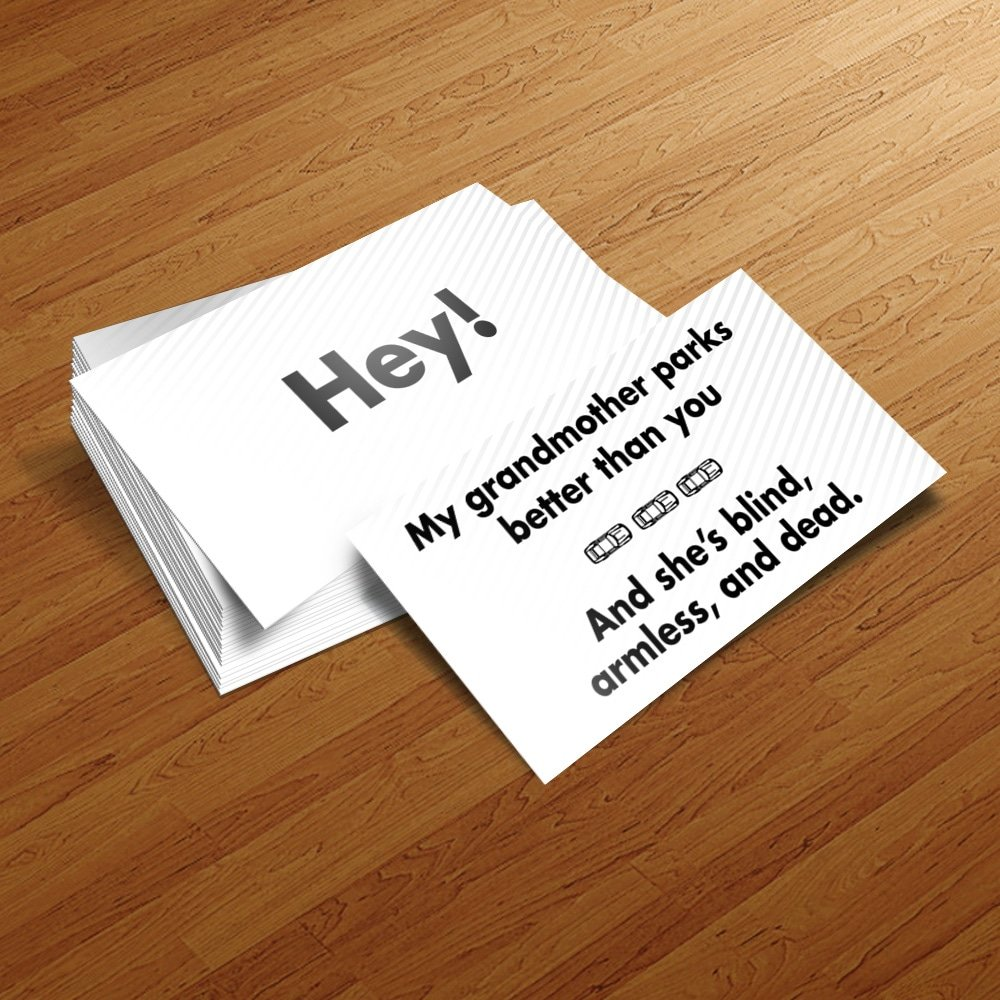 Amazon.com: Bad Parking Business Cards 5 Designs 100 Pack Funny Joke ...