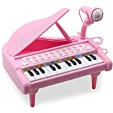 Amy & Benton Toddler Piano Toy Keyboard Pink for Girls Birthday Gift 1 2 3 4 Years Old Kids 24 Keys Multifunctional Toy Piano