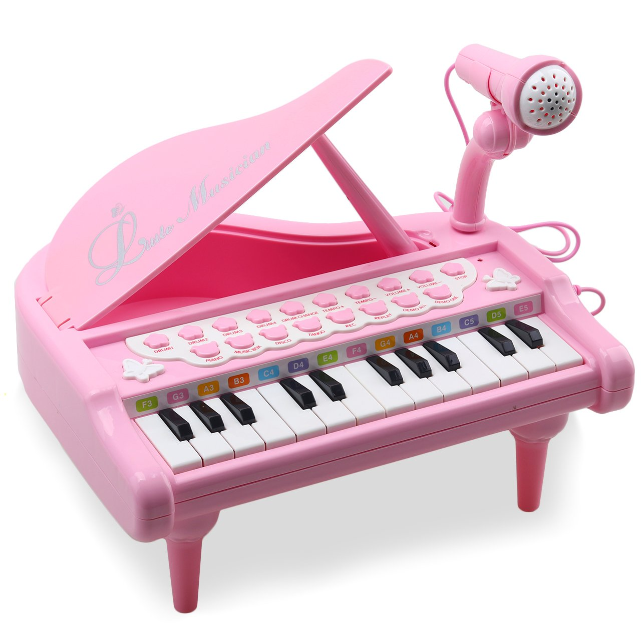 Amy & Benton Toddler Piano Toy Keyboard for Kids 24 Keys Pink Birthday Gift Toys for Baby 1 2 3 4 Years Old Girls