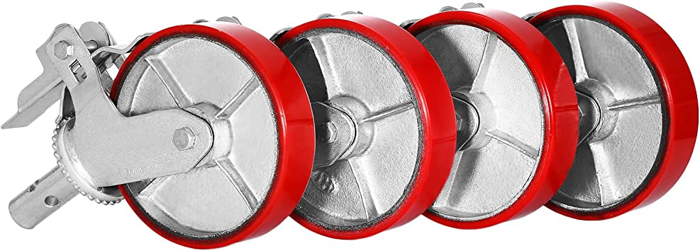 """SET OF 4 PLATE 8/"""" POLYURETHANE SCAFFOLDING CASTERS WHEELS  FAST DELIVERY GREAT"""
